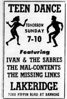 Ivan & the Sabres, the Mal-Contents and the Missing Links at the Lakeridge, Sunday, April 2, 1967