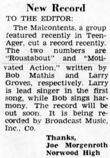 March 4, 1967 letter regarding The Malcontents upcoming record