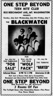 Blackwatch, For Sale, Wolf Pack, the Wanted at One Step Beyond Cincinnati Enquirer, July 1, 1967