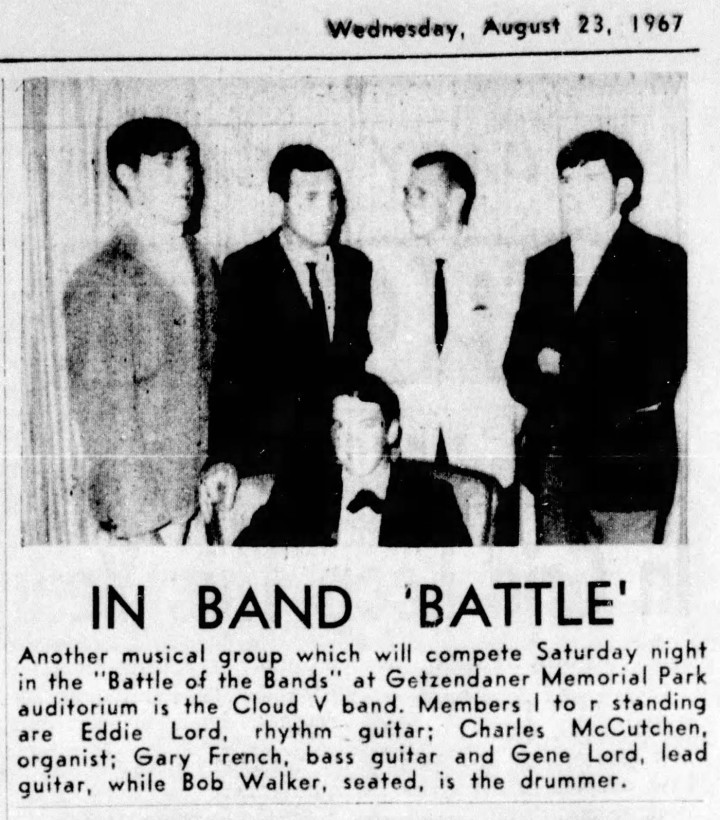 The Cloud V, August 1967, from top left: Eddie Lord, Charles McCutchen, Gary French and Gene Lord, with Bob Walker seated in front