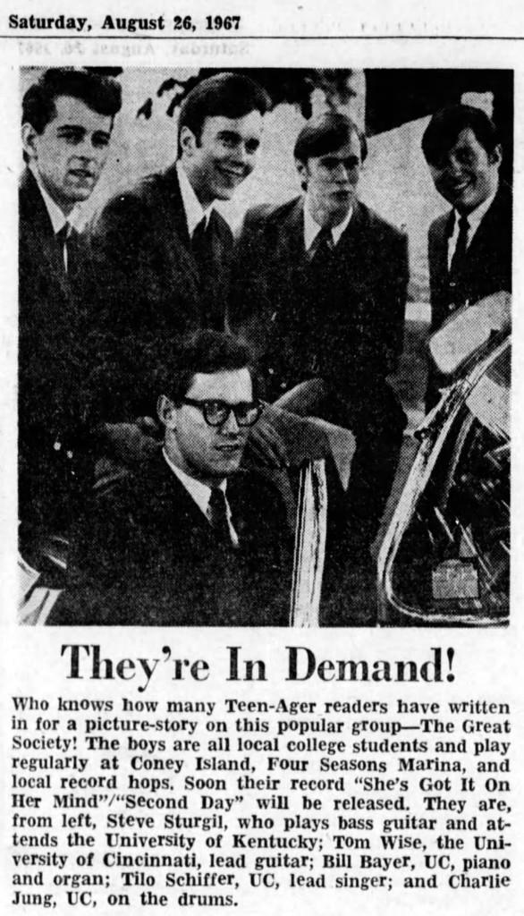 The Great Society from The Great Society, from left: Steve Sturgil, Tom Wise, Bill Bayer, Tilo Schiffer and Charlie Jung