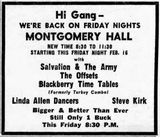 The Blackberry Time Tables (formerly the Turkey Combo) with Salvation and the Army, the Offsets, at Montgomery Hall on Sunday, February 11, 1968