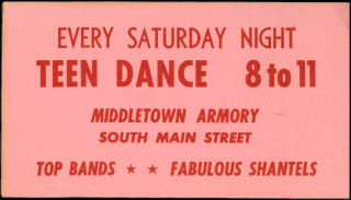 The Fabulous Shantels, ticket for the Middletown Armory Teen Dance