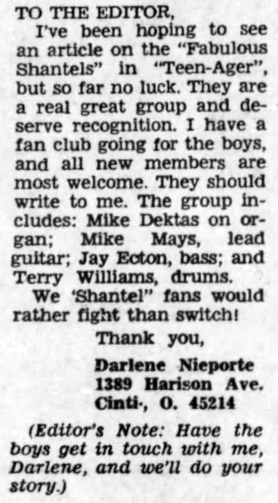 The Shantels fan club letter, September 24, 1966