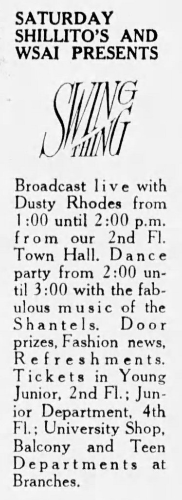 The Fabulous Shantels and WSAI DJ Dusty Rhodes broadcast live from Shilitto's, February 20, 1966