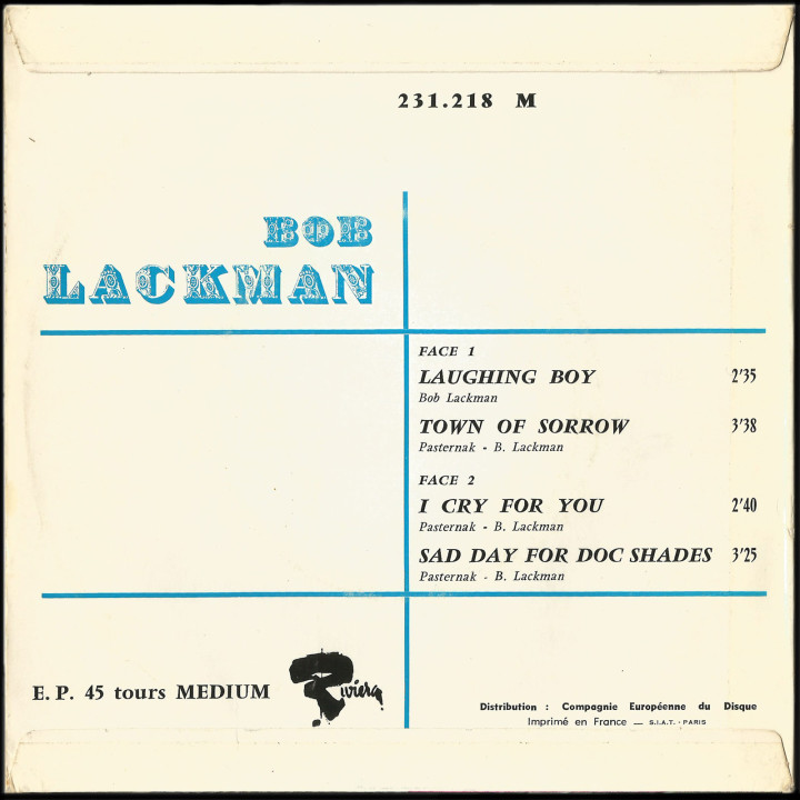 Bob Lackman Riviera EP Laughing Boy back cover