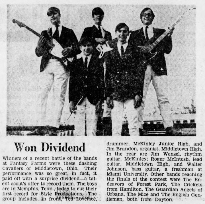 The Cavaliers profile, Cincinnati Enquirer, Saturday Sept. 16, 1967