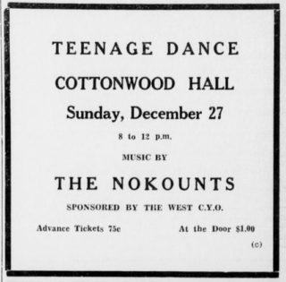 The Nokounts at Cottonwood Hall West, TX, December 27, 1964
