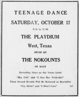 The Nokounts at the Playdium West, TX, October 17, 1964