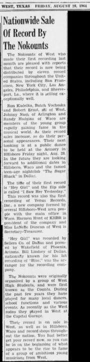 The Nokounts, West News, August 28, 1964