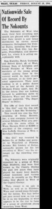 The Nokounts, West News, August 28, 1964