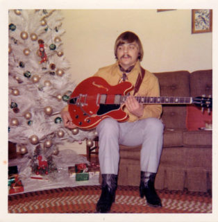 Donny Trexler with his new Gibson ES-335 guitar, Christmas, 1969.