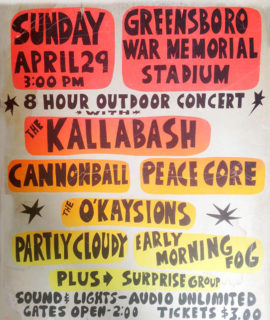 O'Kaysions poster for Greensboro show on Sunday, April 29, 1973