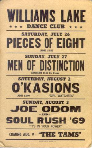 O'Kaysions early concert poster, Williams Lake Dance Club, Clinton, N.C.