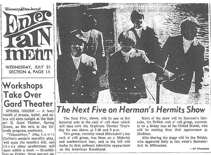 Next Five appearing with Herman's Hermits and the Robbs, August 1, 1968