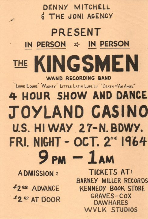 Kingsmen show poster, October 2, 1964 at Joyland Casino, Lexington, Kentucky