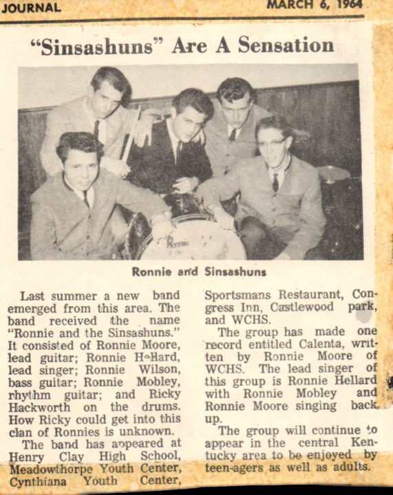 Ronnie & the Sinsashuns news clip, March 6, 1964