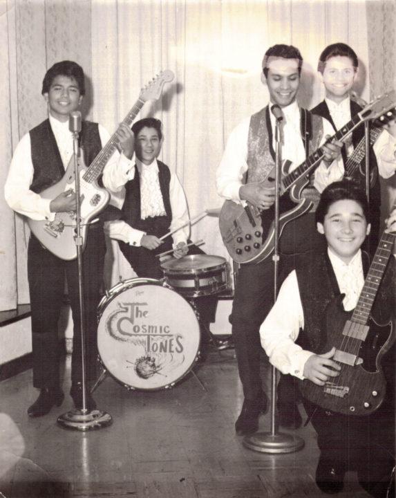 The Cosmic Tones photo: Morris Ochoa, Vincent Hernandez, David Silva, Terry Williams and (kneeling) Alex Hernandez