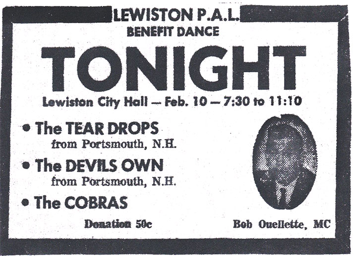 Tierdrops, Devil's Own, & Cobras, Lewiston P.A.L. Dance, February
